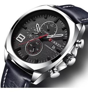 Reloj Hombre Curren 8324 Pn Deportivo Cuero Cronografo Fecha