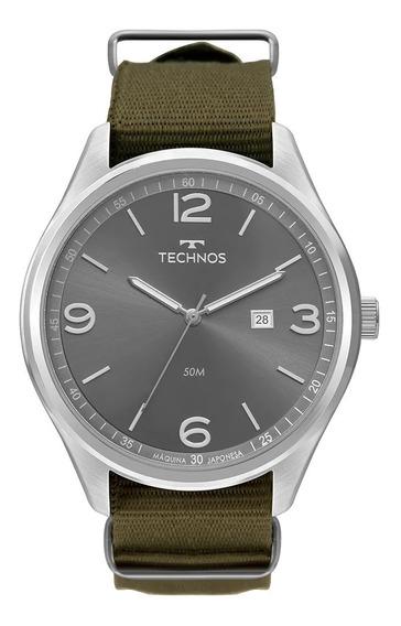Relógio Masculino Technos Steel Prata Pulseira Tecido Verde