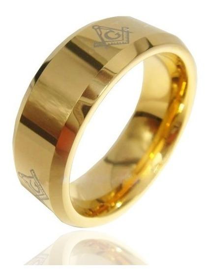 Anel Maçonaria Tungstênio Folheado Ouro 18k Luxo Masculino
