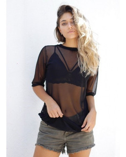Blusa Camisa Tule Blogueira Com Top Cropped Renda