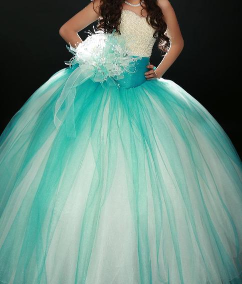 Vestido Xv Años (3pzas) Talla 30-32 Color Aqua
