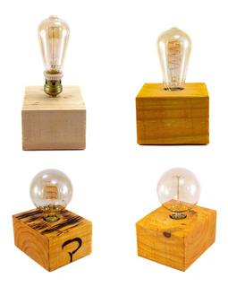 Velador Vintage Cubo Madera Reciclada Lampara Filamentos