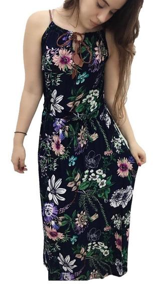 Vestido Longo Viscose Estampa Flores Com Alça Verão Linda