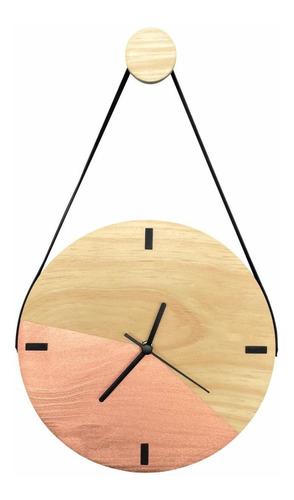 Imagem 1 de 6 de Relógio Decorativo De Madeira Com Alça Duo Rosê Gold