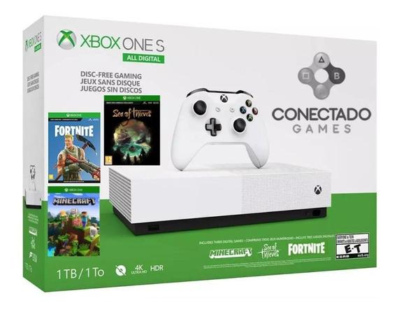Xbox One S Hd 1tb All Digital 4k + 3 Jogos Em Mídia Digital