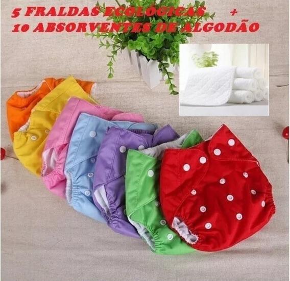 Kit 5 Fraldas Ecologicas 10 Absorventes De Algodão