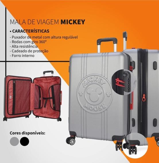 Mala Mickey Pequena Bordo 360° / Cadeado / Escolar E Viagem