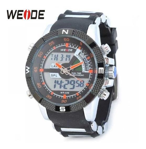 Relógio Weide Wh-1104 Analogico E Digital Preto Com Laranja