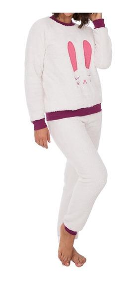 Conjunto De Pijama Felpa Tops Bottoms Cara Conejo