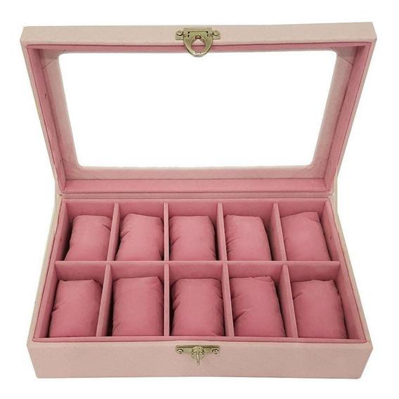 Estojo Para 10 Relógios Mdf Externo Rosa E Interno Rosa