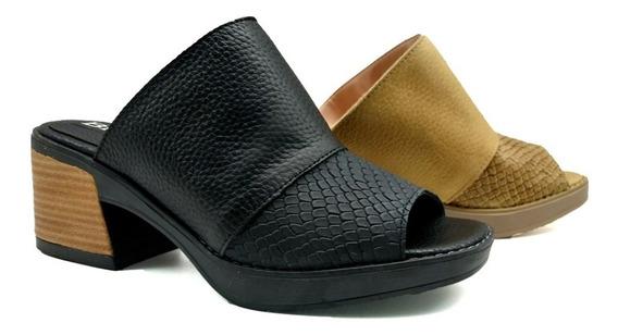 Zapato Zueco Cuero Tachas Base De Goma Taco Mujer Ar3022