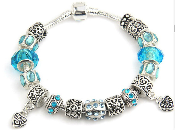 Pulseira Azul Com Berloques Banhada Prata Modelo Pandora