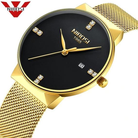 Relógio Nibosi Feminino Masculino 2323 Dourado/preto