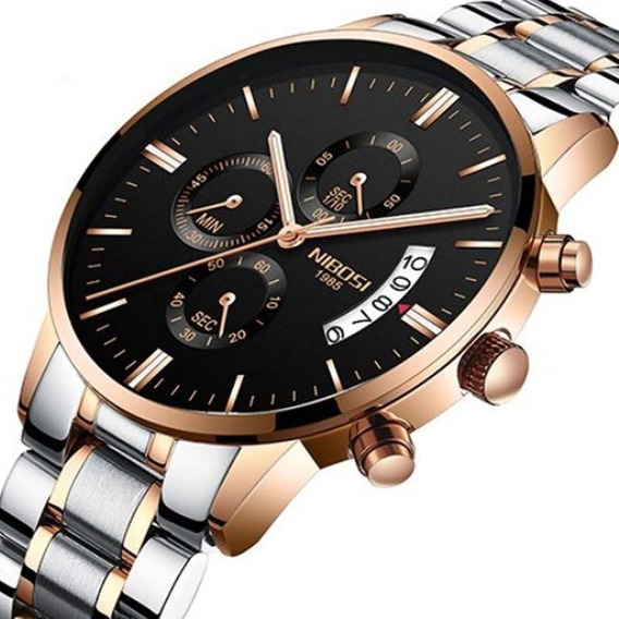 Relógio Nibosi 2309 Casual De Luxo Quartzo Aço Inoxidável