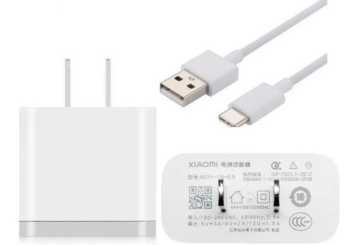 Cargador Xiaomi Carga Rápida Original + Cable Type C  18w