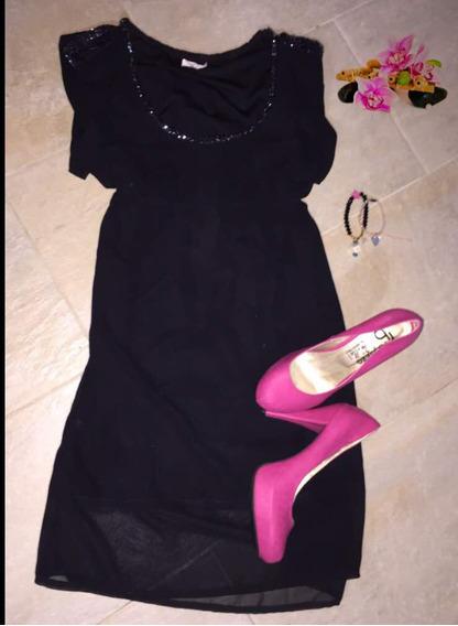 Vestido Negro De Chifon Elegante Casual Corto Talla S 20