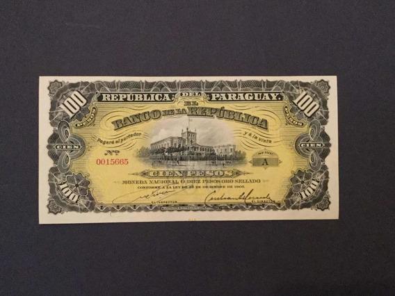 Paraguaí 1907 Cédula De 100 Pesos Ouro Original Fe