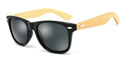 Lentes Gafas Sol Madera Bambu Hdcrafter 1501 Negro Gris