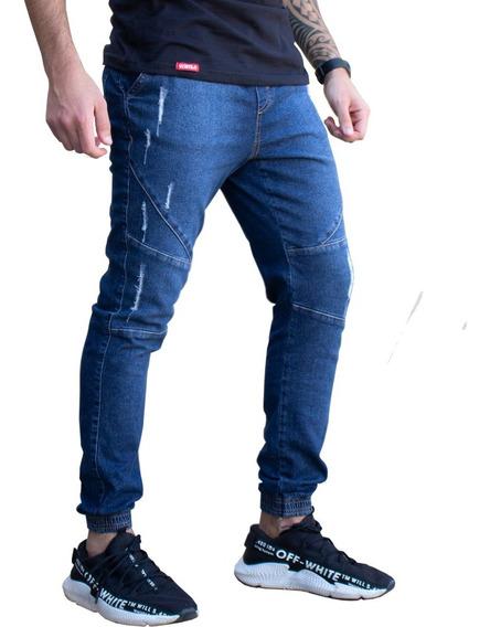 Calça Jeans Rasgada Azul Destroyed Sarja Skinny