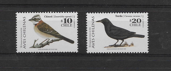 Estampillas De Chile 1998 Aves Chilenas Chincol Tordo Mint