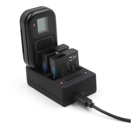Carregador Telesin Triplo Bateria E Controle Para Gopro 4-7