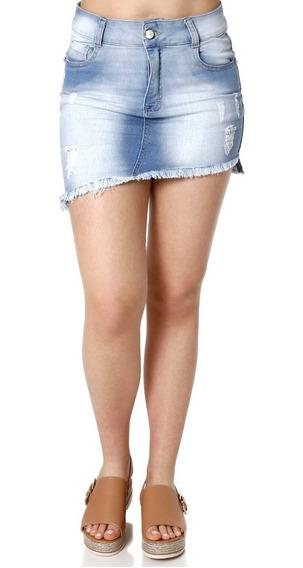Saia Curta Jeans Feminina Amuage Azul