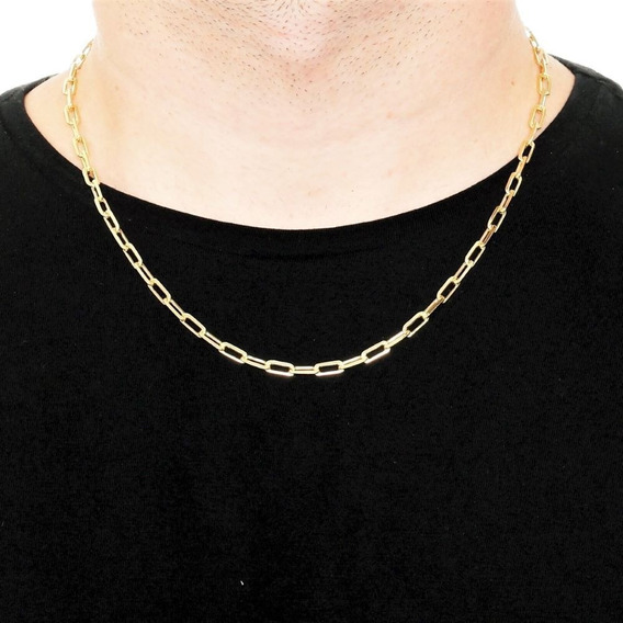 Cordão Corrente Masculina Cordão 50cm 4mm Folheado Ouro