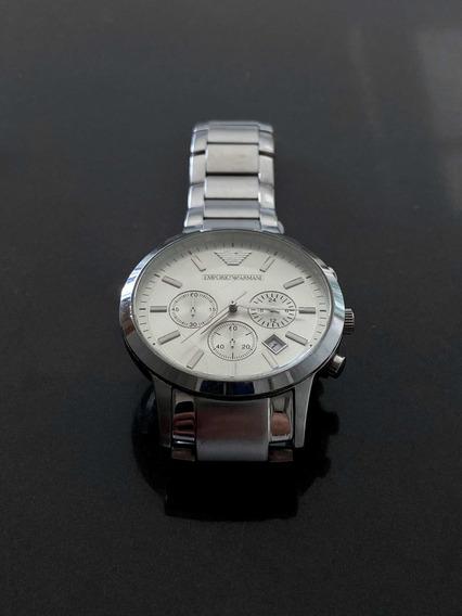 Relógio Emporio Armani Ar2458 Prata C/ Fundo Branco