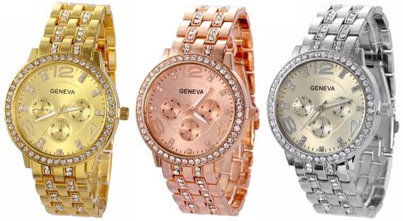 Kit 03 Relógios Femininos Dourado, Prata, Rosê Com Strass