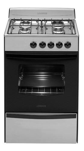Imagen 1 de 3 de Cocina Longvie Standard 13231XF multigas 4 hornallas  acero inoxidable puerta  con visor 74L