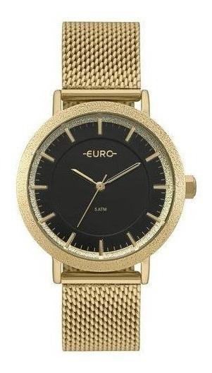 Relógio Euro Dourado Feminino Fundo Preto Eu2039jm/4p