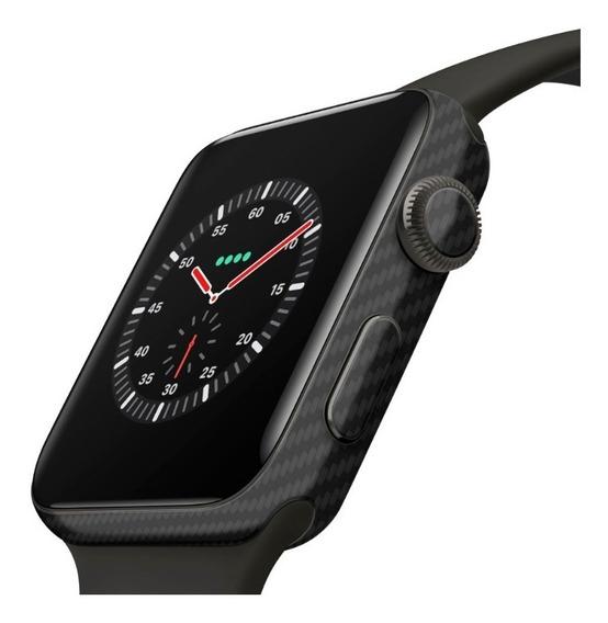 Adesivo Proteção Carbono Preto Apple Watch 44m P/ Series 4