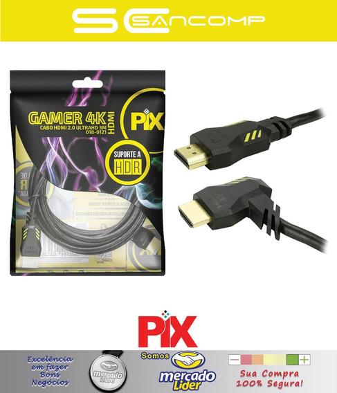 Cabo Hdmi Pix 2.0 4k Gamer Plug 90 Gr 3m 3metros Hdr 3d