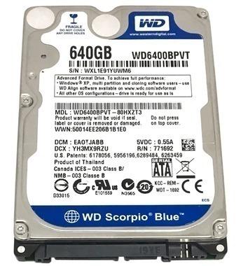 Hd P/notebook 640gb Westerndigital Sata 2 5400rpm Wd6400bpvt