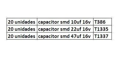Kit C/ 60 Unidades Capacitor Eletrolitico Smd (conforme Des)