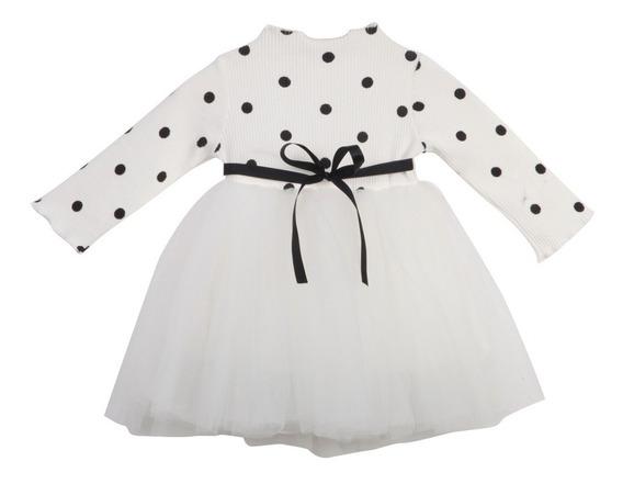 Vestido De Fiesta Lunares Manga Larga Con Tul Para Niñas
