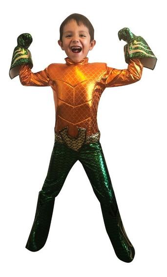 Disfraz De Aquaman Niño Dc Comics Talla 10 Y 12 Mod. 2