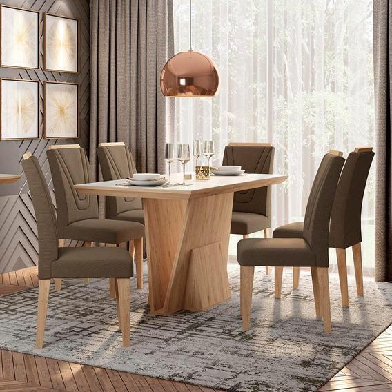 Conjunto Sala De Jantar 6 Cadeiras C/vidro Albania