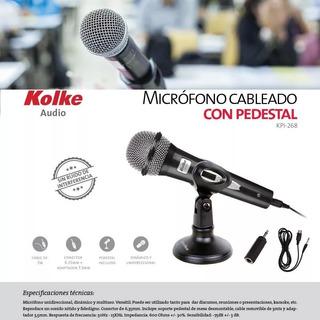 Microfono Kolke Pc Amplificador Cable 3 Mts. Largo Pedestal