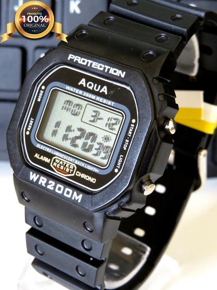 Relógio Masculino Digital Aqua Wr200 À Prova D