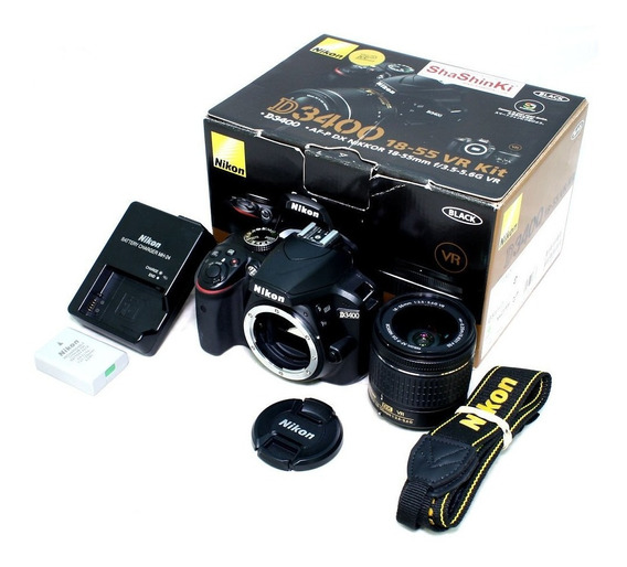2x Nikon D3400 + Lente 50mm + 18-55mm + Flash E Acessórios