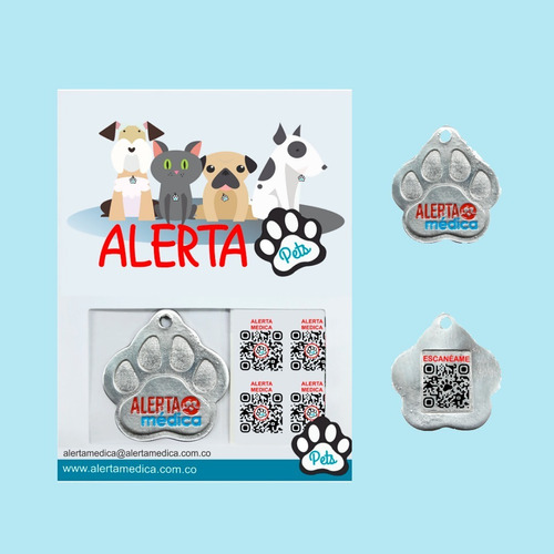 Placa/medalla De Identificación Y Ubicación Qr Mascotas