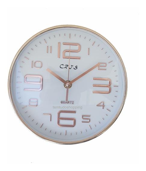 Relógio De Parede Analógico Rose Gold 20cm Escritorio Casa