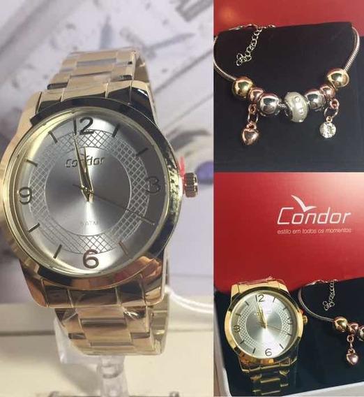 Relógio Feminino Condor Kit Jóia Co2035klp/k4k Dourado