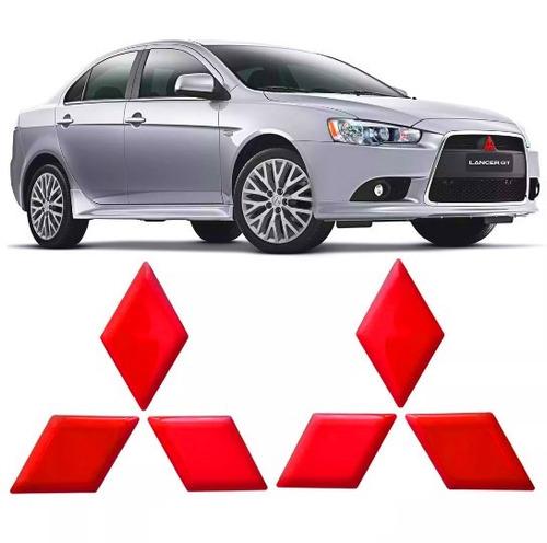 Emblema Vermelho Lancer  Resinado Aplique Com Relevo