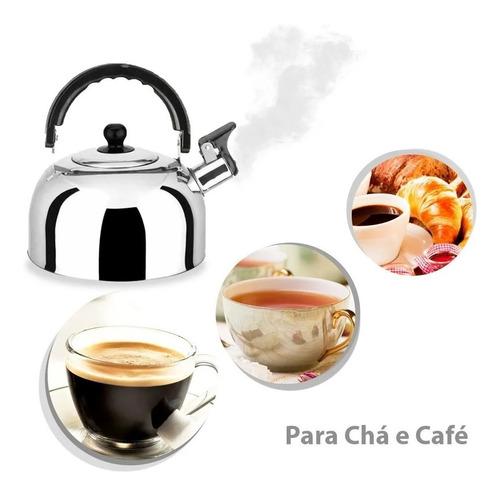 Chaleira Com Apito Chá Café 2 Litros Aço Inox Tampa Cozinha