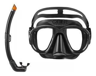 Kit Máscara Omer Alien+sn. Dive Pro Pesca Caça Sub Mergulho