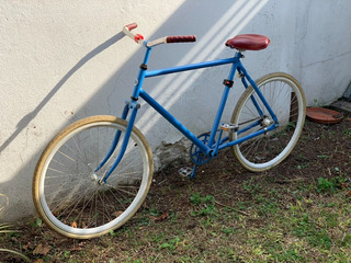 Bicicleta Monochrome Retro Celeste Unisex Con Cuero