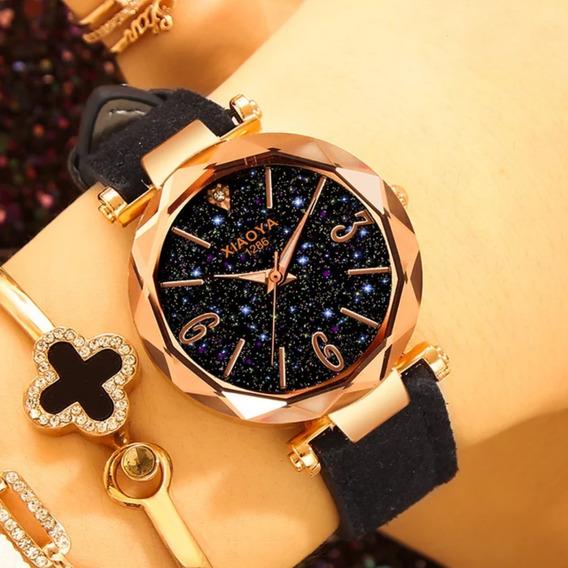 Relógios Pulso Feminino Céu Estrelado +bracelete+caixinha
