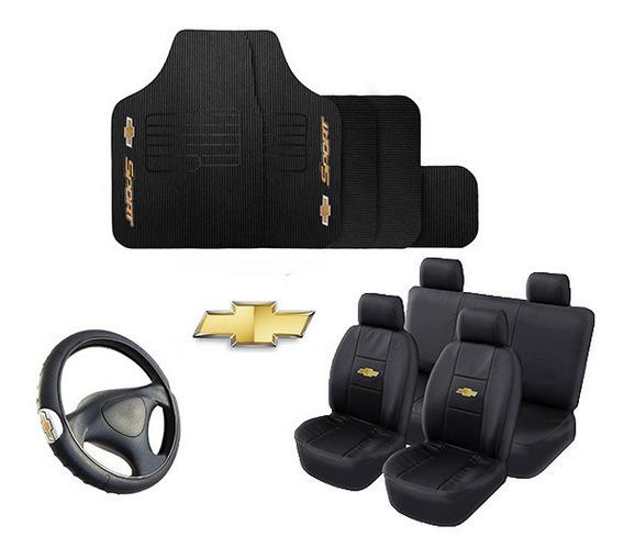 Kit Capa Couro Banco Carro Tapete Volante Chevrolet + Promoção